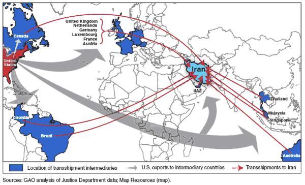US Iran illegal trade transshipment countries 2010